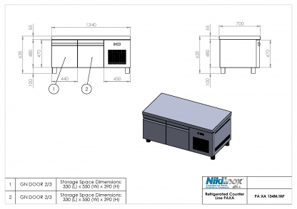 Product Drawing PA XA 134M WITH DOORS ENG0001